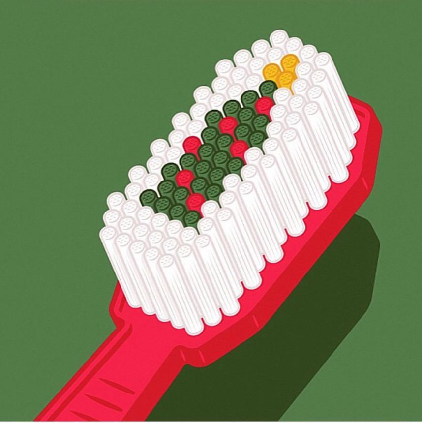 Елка в зубной щетке