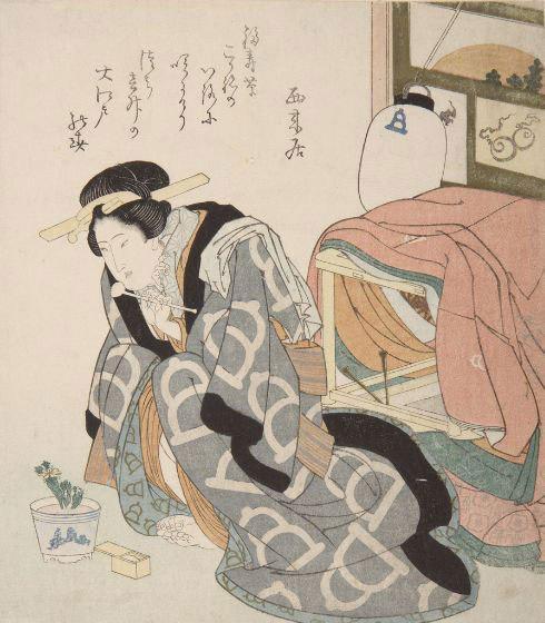 Ок. 1830 г., Япония. Раскрашенная гравюра на дереве
