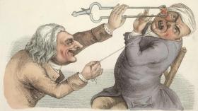 Садист-зубодробитель, пугающий пациента раскаленным углем (John Collier, 1810г.)