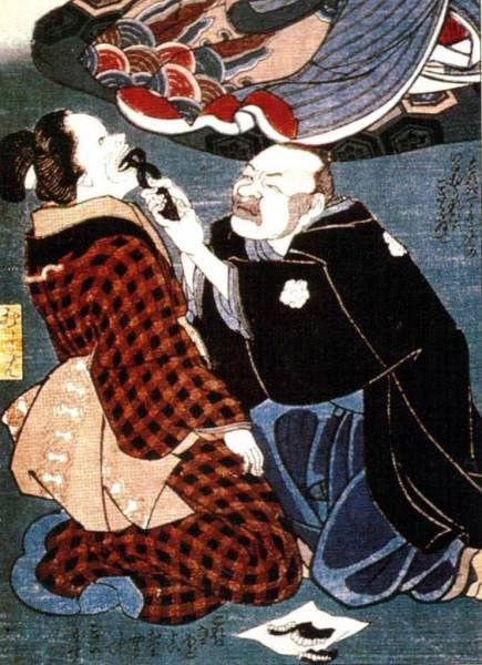 1880 г., Япония. Раскрашенная гравюра на дереве