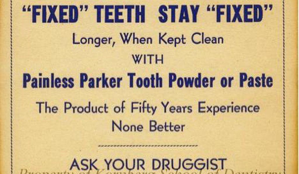 Одна из рекламных брошюр зубной пасты от Пэйнлесса Паркера