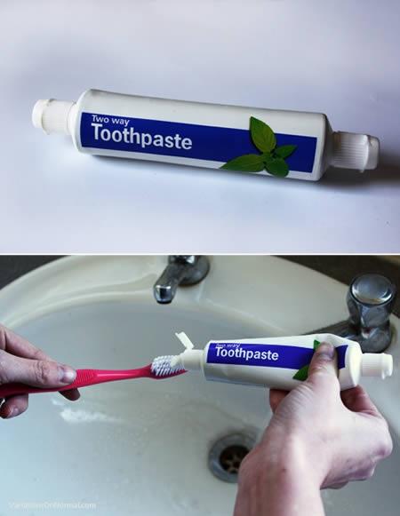 Зубная паста с колпачками на двух концах